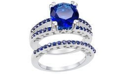 10k White Gold 2.33Ct Cut Blue Sapphire Double Filled Ring - Size: 9