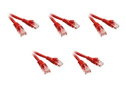 C&E Cat6 5-Foot Boot Ethernet Patch Cable - 5-Pack - Red (CNE60269)