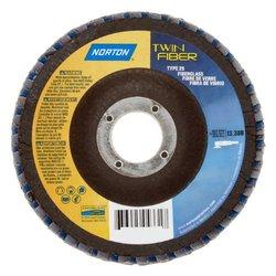 "Norton RedHeat Abrasive Flap Disc, Type 29, Threaded Hole, Fiberglass Backing, Ceramic/Zirconia Alumina, 7"" Dia., 60 Grit (Pack of 1)"