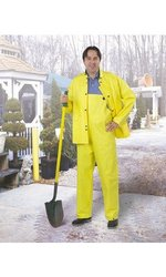 ONGUARD 77032 PVC on Non-Woven Polyester Cooltex Jacket with Hood Snaps, Yellow, Size X-Large