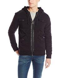 Southpole Men's Fleece Faux Leather Utility Hoodie - Black - Size: L