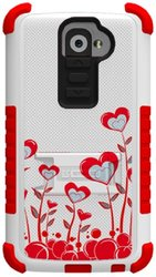 Beyond Cell High Impact Hybrid Hard and Soft Tough Armor Rugged Case with 3 Layers of Protection and built-In Kickstand for Smartphones - Retail Packaging - White/Red/True Heart