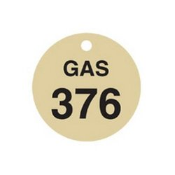 "Brady  23459 1 1/2"" Diameter, Stamped Brass Valve Tags, Numbers 376-400, Legend ""GAS"" (Pack of 25 Tags)"