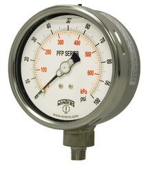 """Winters PFP Series Premium Stainless Steel 304 Dual Scale Liquid Filled Pressure Gauge, 0-5000 psi/kpa, 2-1/2"""" Dial Display, +/-1.5% Accuracy, 1/4"""" NPT Bottom Mount"""