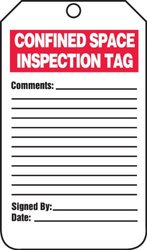 "Accuform Signs TCS321PTP Confined Space Status Tag, Legend ""CONFINED SPACE INSPECTION TAG"", 5.75"" Length x 3.25"" Width x 0.015"" Thickness, RP-Plastic, Red/Black on White (Pack of 25)"