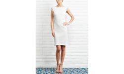 Kasper Women's Knit Crochet Lace A-line Cap Sleeve Dress - Ivory - Size: 8