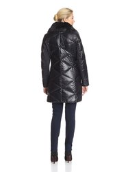 Hooded Down & Feather Fill Coat with Faux Fur Trim - Black - Size: M