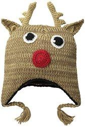 D&Y Women's Reindeer Ugly Christmas Hat, Beige, One Size