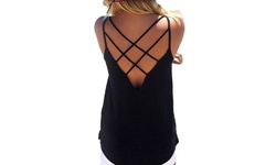 Daisy Women's Criss Cross Back Tank - Black - Size: Small
