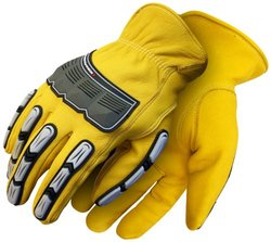 BDG 20-1-10695-M Leather Back Hand Impact Glove, Medium