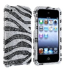eForCity Snap-On Case for iPod touch 4G - Silver/Black Zebra Bling