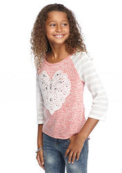 Beautees Girls Colorblock Crochet Heart Top - Coral/White - Size: S