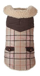 "Fab Dog Wool Plaid Shearling Dog Jacket, Camel, 14"" Length"