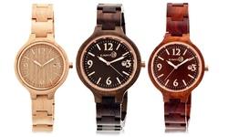 Earth Nodal Wood Women's Bracelet Watch - Red