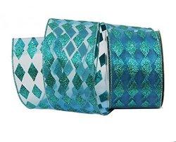 Renaissance 2000 2.5-Inch x 10yd Aqua Blue Diamond Glitter Ribbon