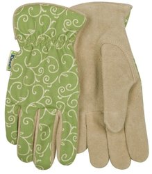 6-Pairs Canvas Back Suede Cowhide Leather Women's Work Gloves -Tan - Sz: S