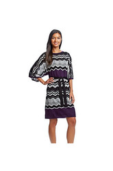 AGB Chevron Knit Sweater Dress - Purple - Size: