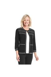 Alfred Dunner Women's Oscar Night Silver Studded Cardigan - Black -Size: L