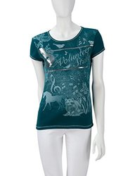 Blue Canyon Tennessee Theme Short Sleeve Tee Shirt - Teal - Size: Large