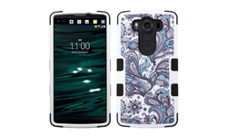 Insten European Flowers Hard Hybrid Rubber Case for LG V10 - Purple/White