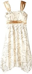 Speechless Girl's Emma Dress with Metallic Detail - Ivory/Gold - Size: 7