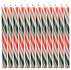 Biedermann & Sons Holiday Striped Taper Candles, 12-Inch, Box of 12