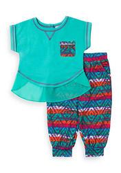 Little Lass Girl's 2-pc Top & Aztec Print Pants Set - Green - Size: 5