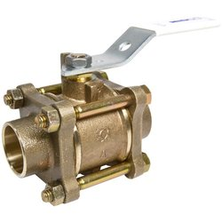 "NIBCO S-595Y-66-LF Silicon Bronze Lead-Free Ball Valve, Stainless Steel Trim, Three-Piece, Lever Handle, 1-1/2"" Female Solder Cup"