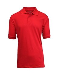 Mens Authentic Galaxy School Uniform Polo Pique Shirt - Red - Size: XLarge