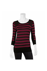 Amy Byer 1008W7A Women's Striped Lace Sweater - Pink/Black - Size: Small