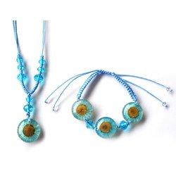 WeGlow International Real Blue Flower Necklace and Bracelet Set