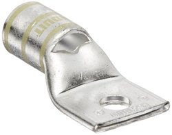 "Panduit LCAS250-38-X Code Conductor Lug, One Hole, Short Barrel With Window, 250kcmil Copper Conductor Size, 3/8"" Stud Hole Size, Yellow Color Code, 0.14"" Tongue Thickness, 1.17"" Tongue Width, 1.03"" Neck Length, 2.32"" Overall Length"
