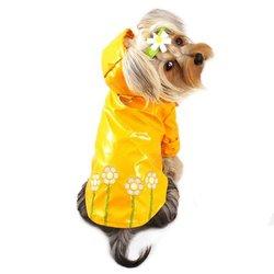 "Polka Dots And Daisy Dog Raincoat Size: X-Large (14"" - 16"" L)"