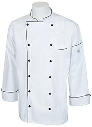 Mercer Culinary M62090WBL Renaissance Men's Traditional Neck Chef Jacket with Full Black Piping, Large, White with Full Black Piping