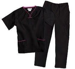 Natural Uniforms Women's Contrast Trim Scallop Scrub Set - Black - Size:XS