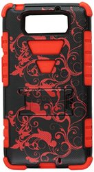 Beyond Cell High Impact Hybrid Hard + Soft Tough Armor Rugged Case with 3 Layers of Protection and Built-In Kickstand - Retail Packaging - Black/Red/Classic Flower
