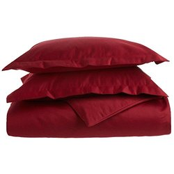 1500 Thread Count Full/Queen Duvet Cover Set, Solid, Single Ply, Burgundy