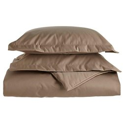 1500-TC Solid Single Ply Duvet Cover Set - Taupe -Size:Full/Queen