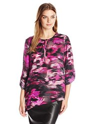 Rafaella Women's Embellished Woven Top - Bright Magenta - Size: X-Large