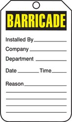 "Accuform 5.75""x 3.25"" x 0.015"" Barricade Status Tag -Yellow/Black/White"