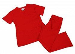 Natural Uniforms Women's Mock Wrap Scrub Set - Red - Size: 2XL