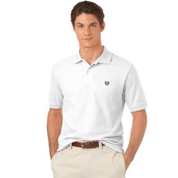 Men's Chaps Solid Pique Polo - White - Size: Large