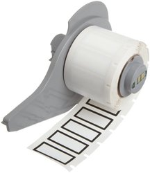 """Brady M71-24-423-BK BradyBondz 1.13"""" Width x 0.5"""" Height White With 1/16"""" Black Border Color B-423 Permanent Polyester Labels With Gloss Finish For BMP71 Label Printer (500 Per Roll)"""