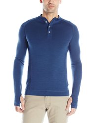 Showers Pass Men's Long Sleeve Bamboo Merino Henley Shirt - Blue - Size: L