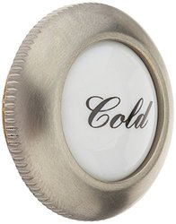 Rohl C7672CSTN Country Kitchen & Country Bath Threaded Screw Cover Cap Complete with Outer Ring & White Porcelain Insert with Cold Script, Satin Nickel