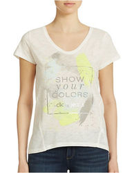 DKNY Jeans Short Sleeve Graphic Tee - White - Size: 1