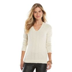 Chaps Women's Chaps Chevron V-Neck Sweater - White - Size: Large