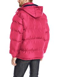 U.S. Polo Assn. Men's Classic Short Puffer Jacket w/ Small Logo - Red / L