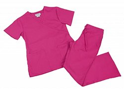 Natural Uniforms Women's Mock Wrap Scrub Set - Hot Pink - Size: Large