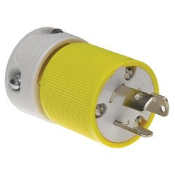 Woodhead 4720YL Safeway Plug, Industrial Duty, Locking Blade, 2 Poles, 3 Wires, NEMA L5-15 Configuration, Nylon, Yellow and White, 15A Current, 125V Voltage